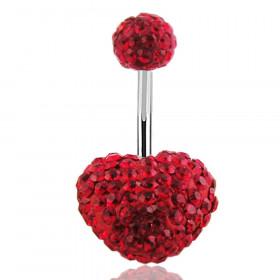 piercing nombril coeur cristal Swarovski rouge