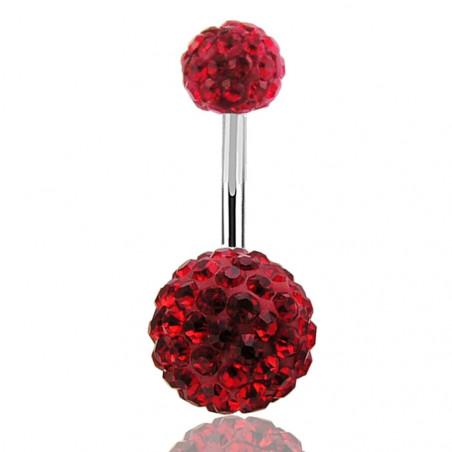 Piercing nombril double Cristal rouge