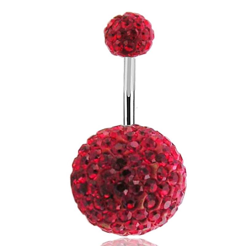 piercing nombril multi cristaux rouge Paillette Swarovski