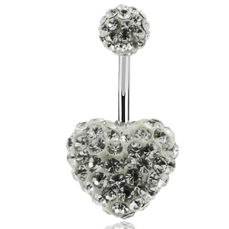piercing coeur Swarovski multi cristaux blanc diamant