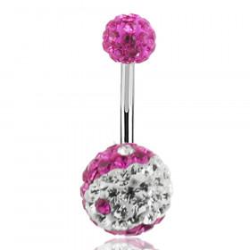 Piercing nombril cristal yin et yang rose