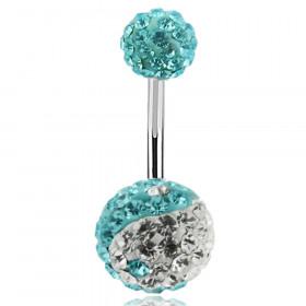 Piercing nombril cristal yin et yang Turquoise