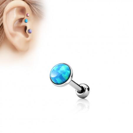 Piercing oreille opale bleu ciel