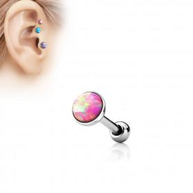 Piercing oreille opale rose