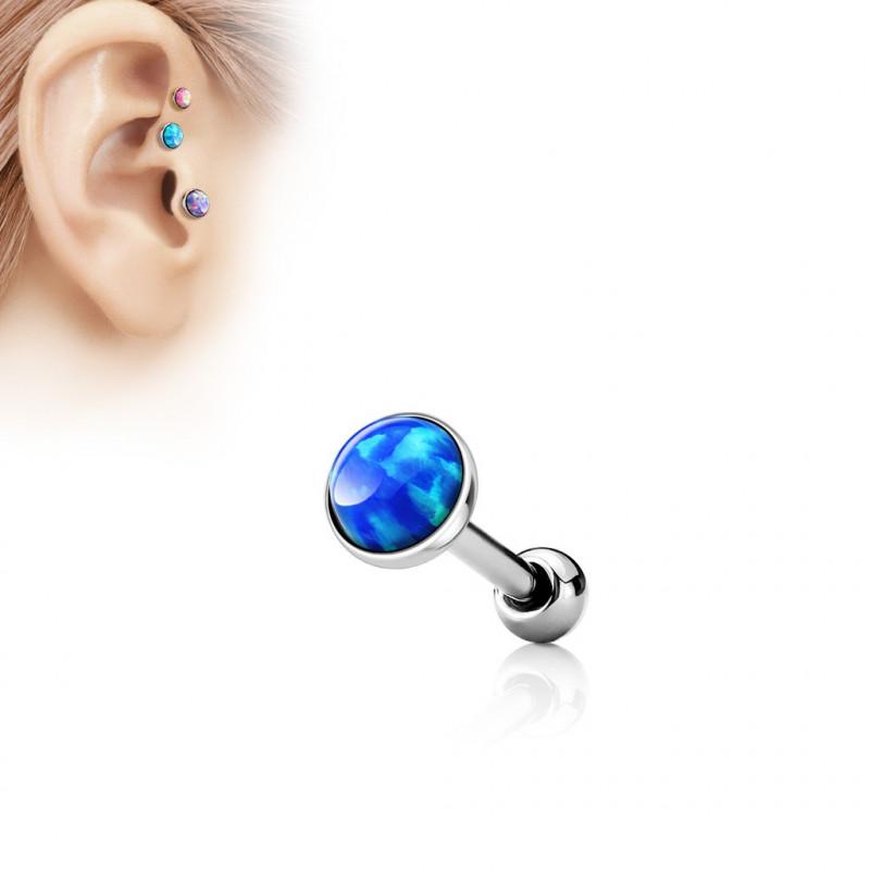 Piercing oreille opale bleu