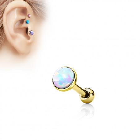 Piercing oreille acier chirurgical doré opale