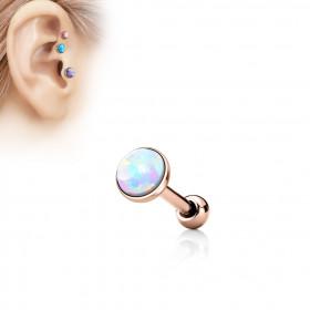 Piercing oreille acier chirurgical couleur or rose avec opale