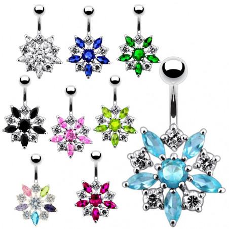 Piercing nombril argent fleur cristal
