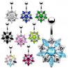 piercing argent nombril fleur qualité cristaux