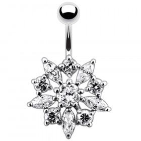 piercing argent nombril fleur qualité cristaux blanc