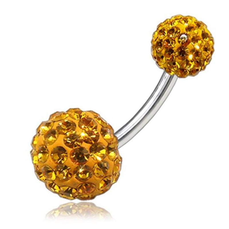 Piercing nombril Swarovski couleur topaze jaune
