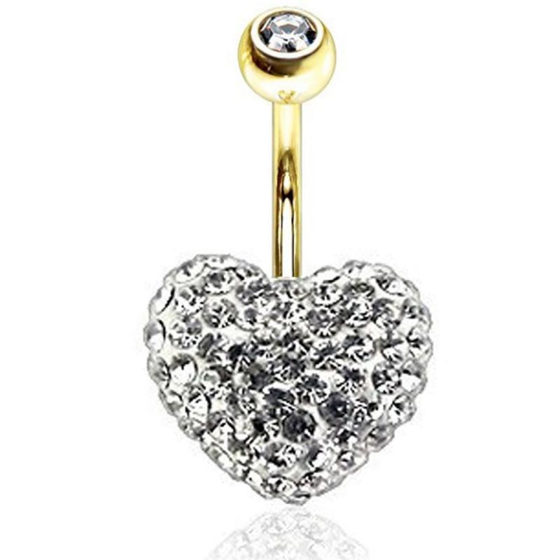 piercing Swarovski nombril coeur cristal