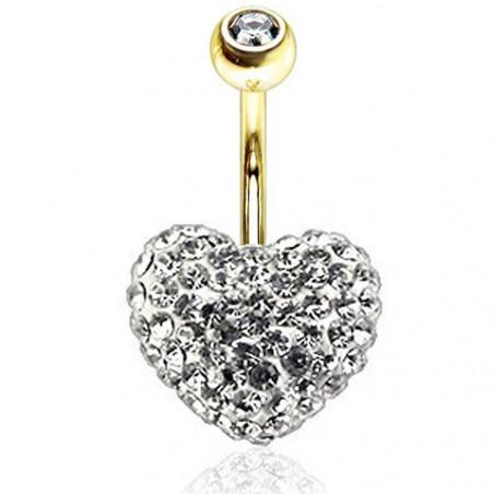 Piercing nombril Cristal Swarovski en forme de Coeur