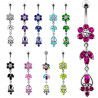 long piercing nombril argent fleur cristal