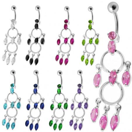 Piercing nombril chandelier argent