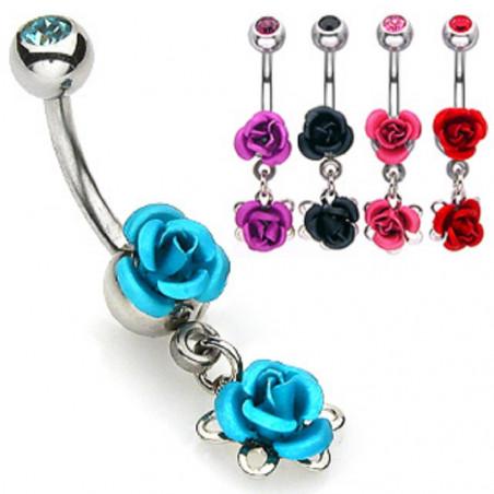 Piercing nombril double rose couleur