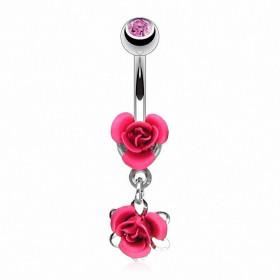 Piercing nombril double rose couleur rose