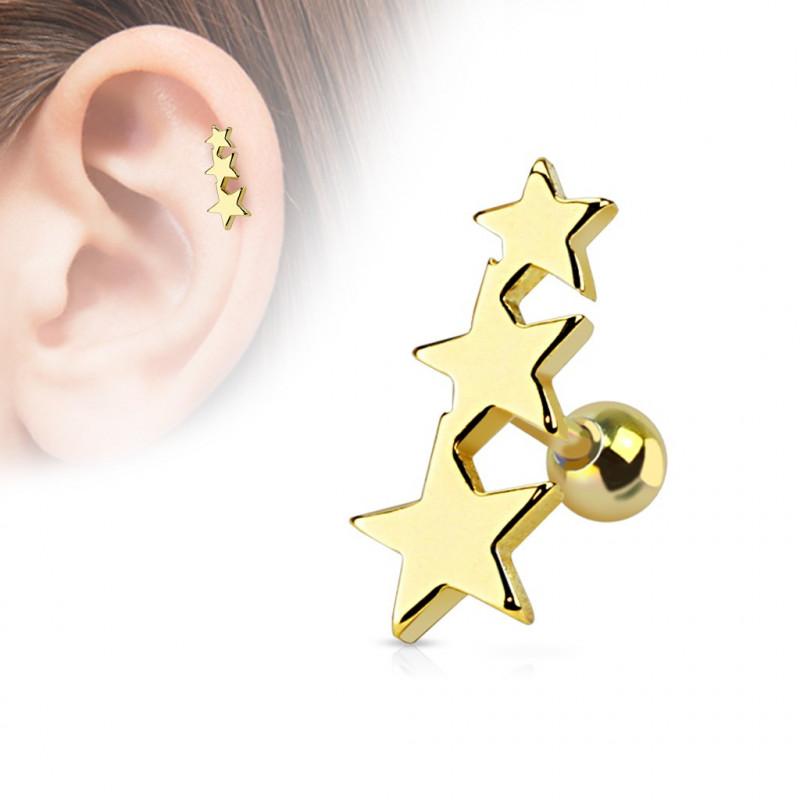 piercing oreille étoiles dorées