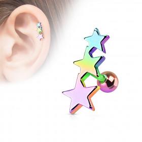 piercing étoiles arc en ciel pour oreille