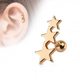 Piercing oreille Triple étoiles acier couleur or rose