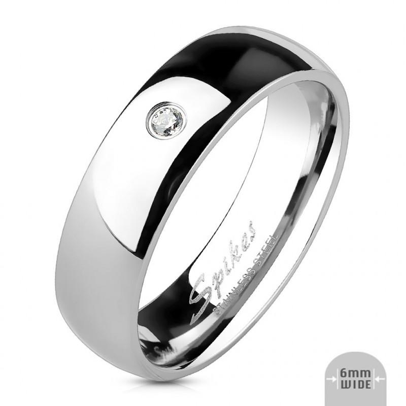 Bague anneau en acier inoxydable avec cristal