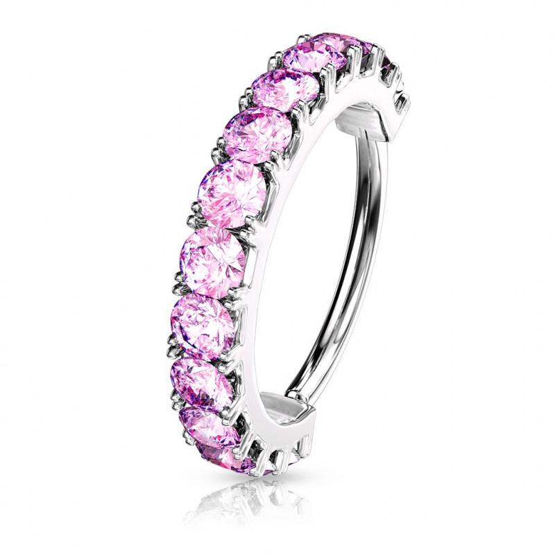 Piercing anneau narine Hoops strass rose