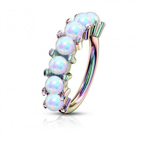 Piercing anneau narine Hoops acier chirurgical essence avec opale blanche synthétique