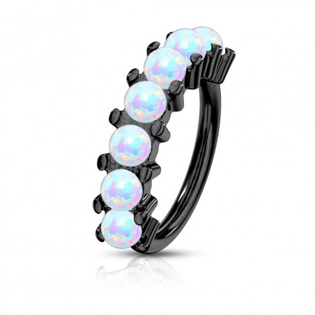 Piercing anneau narine Hoops acier chirurgical noir avec opale blanche synthétique