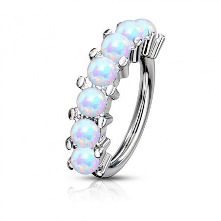 Anneau piercing Hoop sept Opale blanche pour oreille, arcade, cartilage ou autre