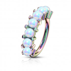 Anneau piercing Hoop acier arc en ciel sept Opale pour oreille, arcade, cartilage ou autre