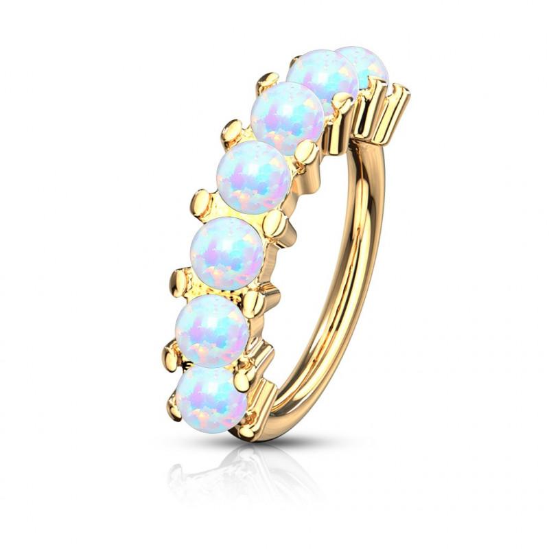 Anneau piercing Hoop acier doré sept Opale pour oreille, arcade, cartilage ou autre