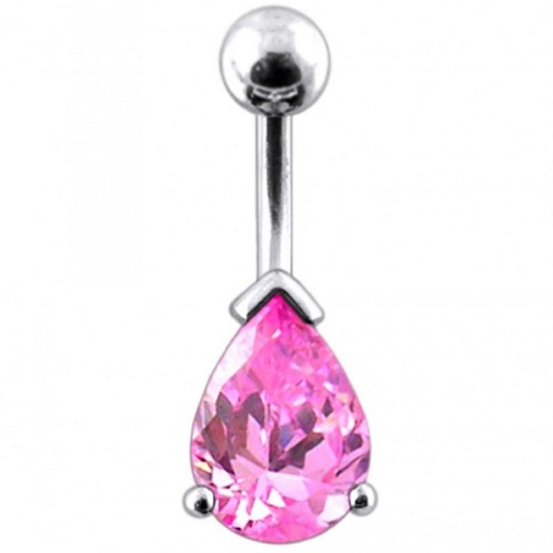 piercing de nombril goutte d'eau argent cristal couleur rose