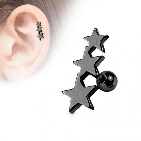 Piercing oreille Triple étoiles acier couleur noir