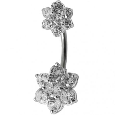 Piercing nombril double fleur argent six pétales en cristaux marque Tarawa avec barre en acier chirurgical
