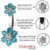 piercing nombril femme fleur cristal turquoise et argent