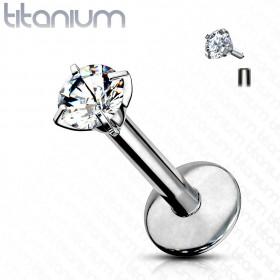 Piercing labret titane cristal rond 4 mm