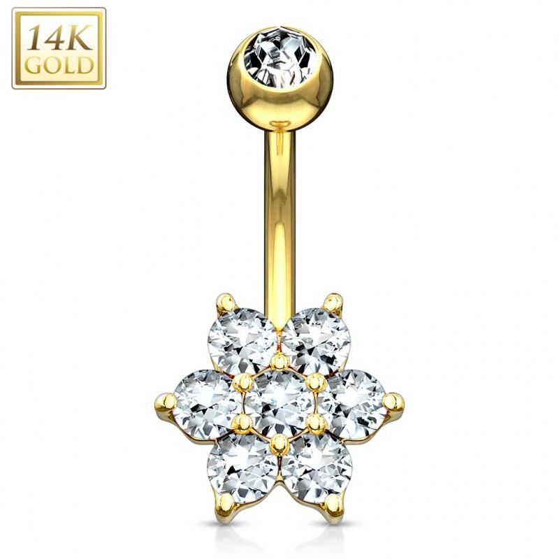 Piercing nombril Or jaune 14k Fleur cristal