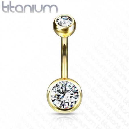 Piercing nombril titane discret doré double strass Blanc