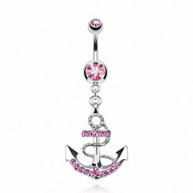 Piercing ventre Ancre Marine pendante pour femme couleur rose