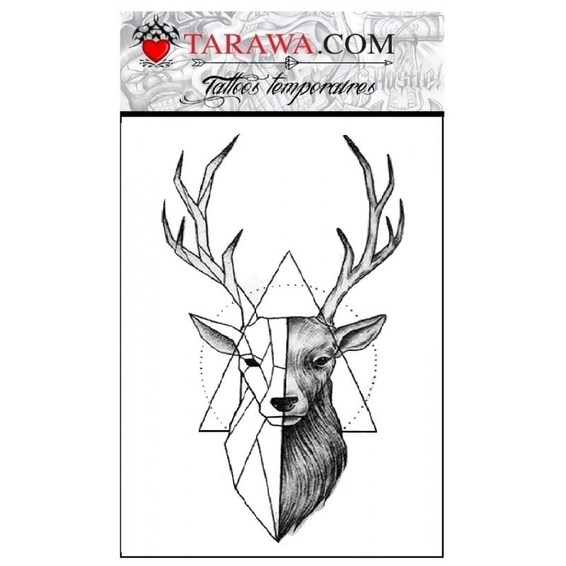 Tatouage cerf géométrique réaliste