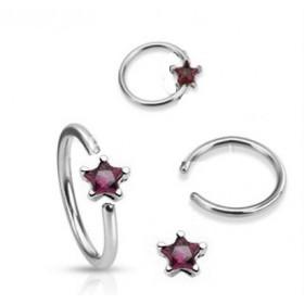 Anneaux de piercing 1.6mm motif étoile cristal de couleur violet pour nombril téton et piercing intime féminin