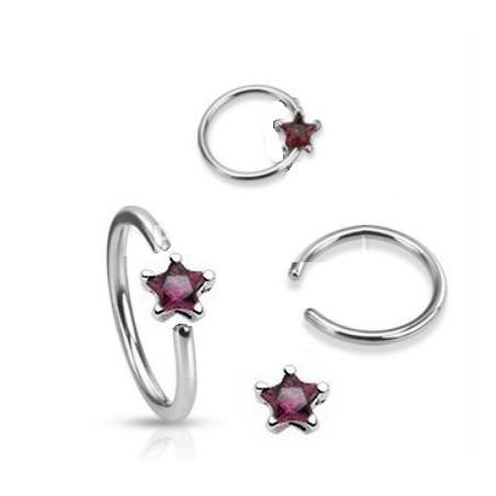Anneaux piercing 1.6mm étoile cristal violet