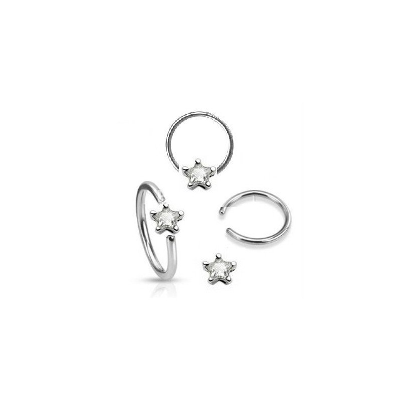 Anneaux de piercing 1.6mm motif étoile cristal de couleur blanc pour nombril téton et piercing intime féminin