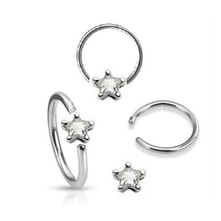 Anneaux piercing 1.6mm étoile cristal Blanc