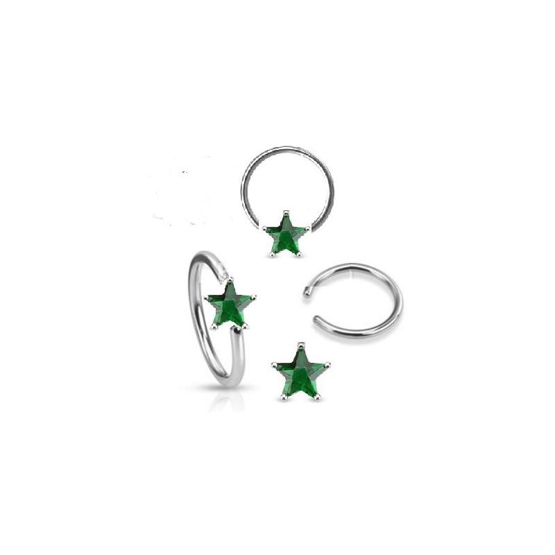 Anneaux de piercing 1.6mm motif étoile cristal de couleur vert pour nombril téton et piercing intime féminin