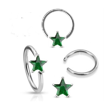 Anneaux piercing 1.6mm étoile cristal Vert