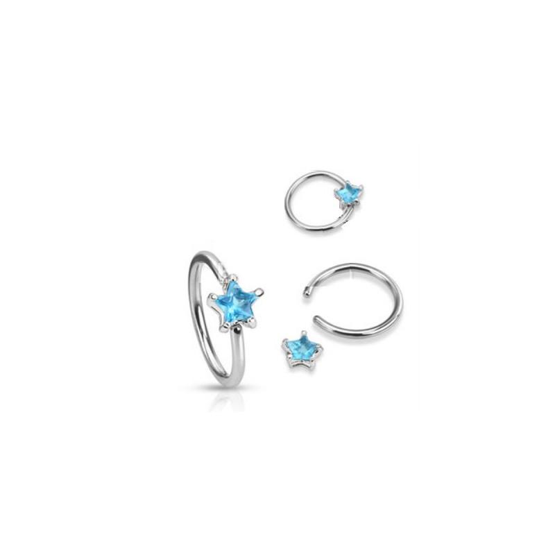 Anneaux de piercing 1.6mm motif étoile cristal de couleur bleu turquoise pour nombril téton et piercing intime féminin