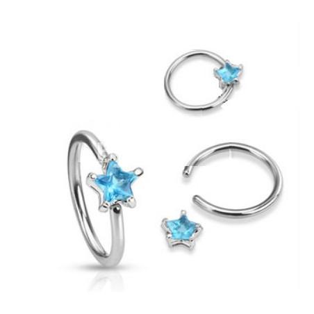 Anneaux piercing 1.6mm étoile cristal turquoise