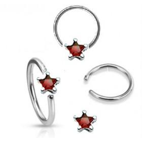 Anneaux de piercing 1.6mm motif étoile cristal de couleur rouge pour nombril téton et piercing intime féminin