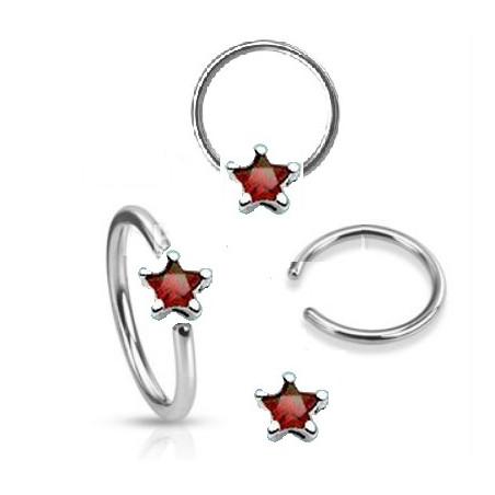 Anneaux piercing 1.6mm étoile cristal rouge